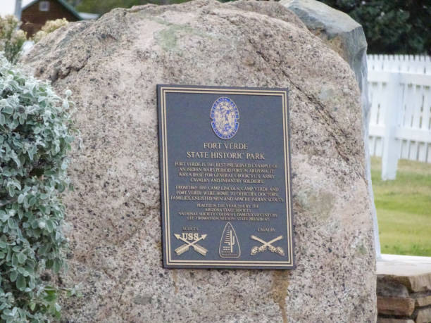 Plaque located in Fort Verde State Park stock photo