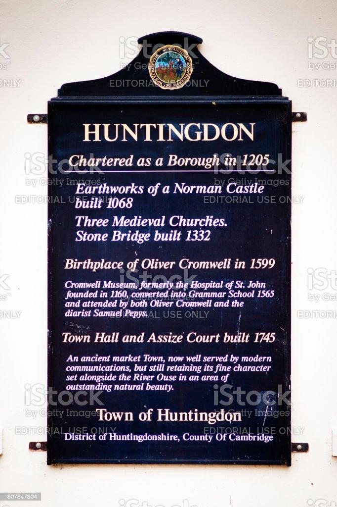 Plaque on Huntingdon Town hall stock photo