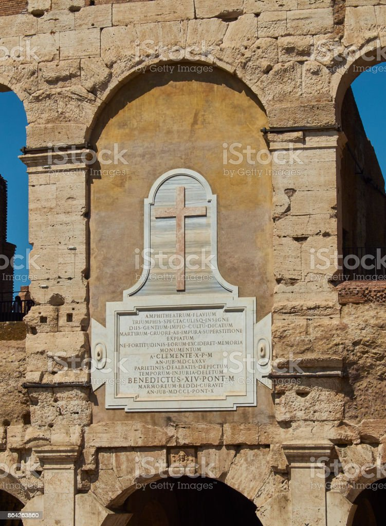 Plaque to consecrate the Colosseum in memory of martyrs. Rome. royalty-free stock photo