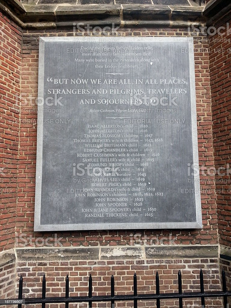 Plaque with the names of Pilgrim Fathers stock photo