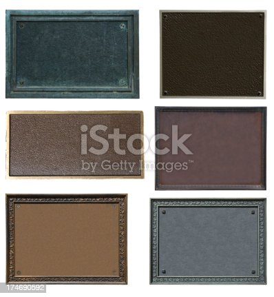 Picture of six different plaques isolated on white.