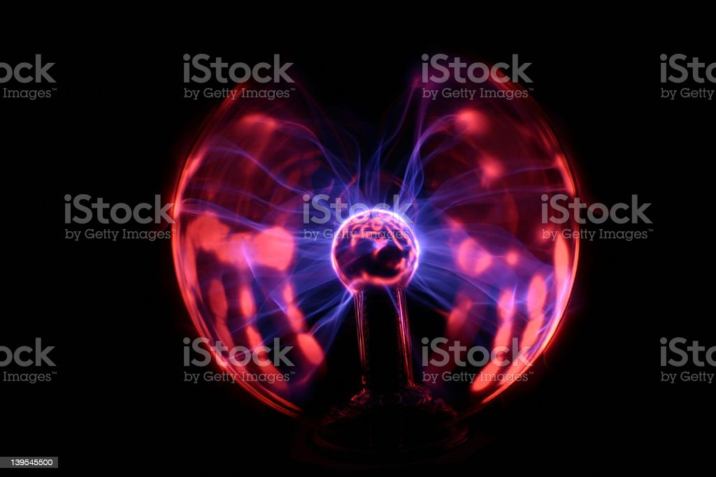 Plasma ball with hands (3) royalty-free stock photo