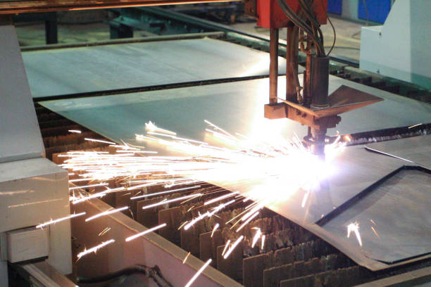 Plasma cutting sparks Plasma cutting sparks metalwork stock pictures, royalty-free photos & images