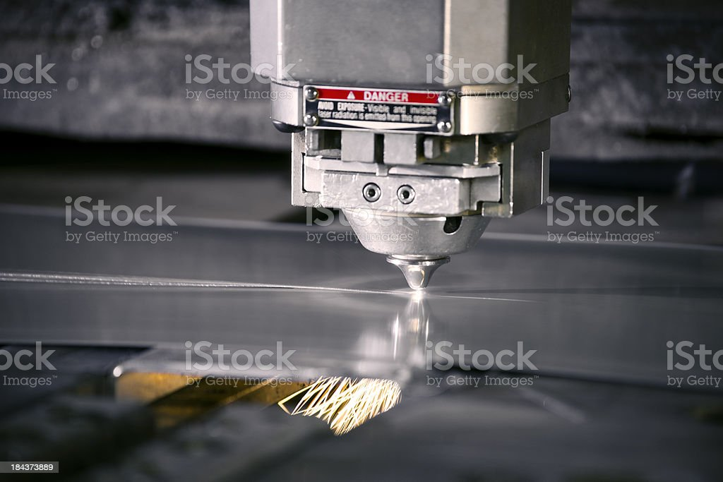 Plasma laser metal cutting machine in operation stock photo