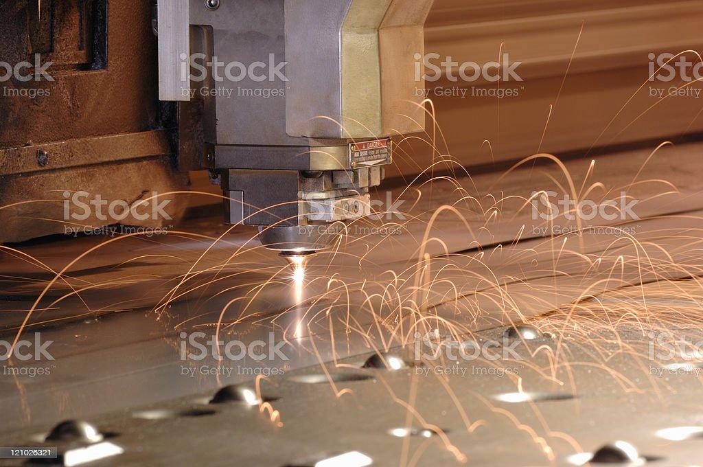Plasma laser metal cutting machine stock photo