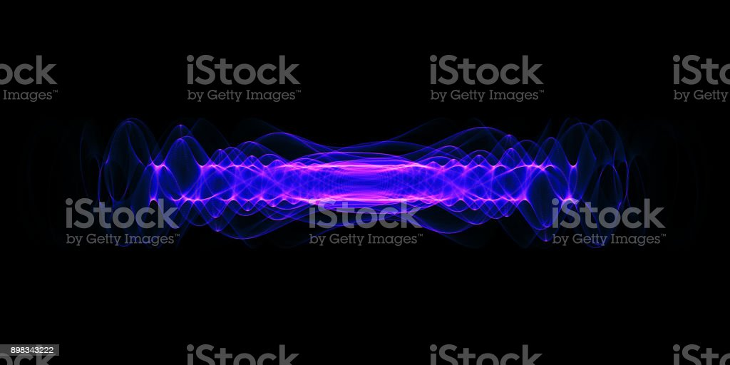 Plasma or high energy force concept. Blue-purple glowing energy waves isolated over black background. stock photo