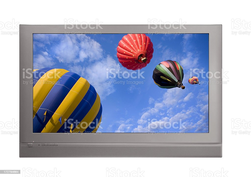 Plasma Screen TV with Hot Air Balloons royalty-free stock photo