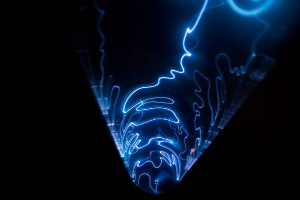 Plasma tunnel with blue and light blue flashes. stock photo