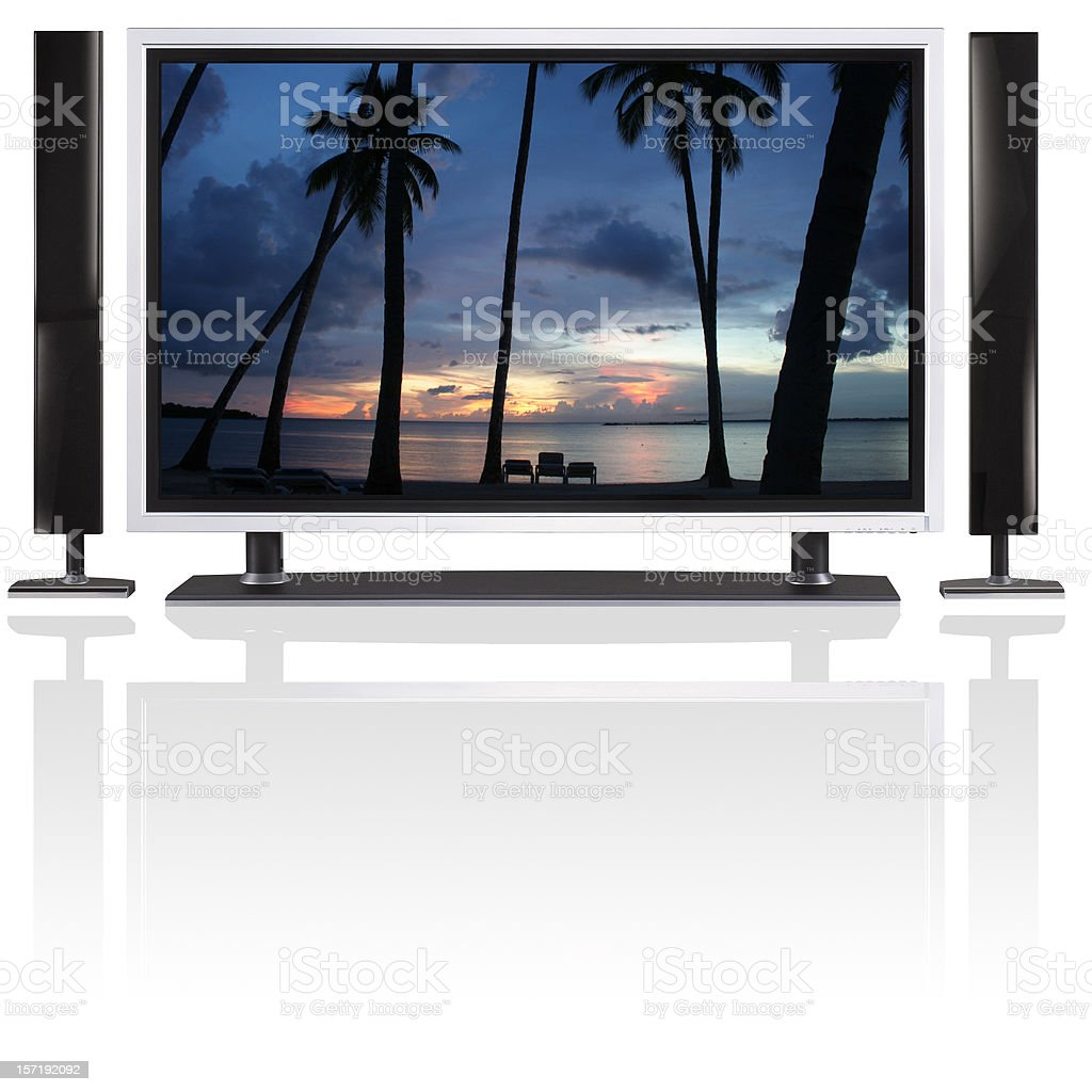 LCD / plasma tv and speakers on white with reflection royalty-free stock photo