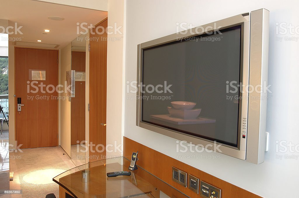 TV al Plasma in camera foto stock royalty-free