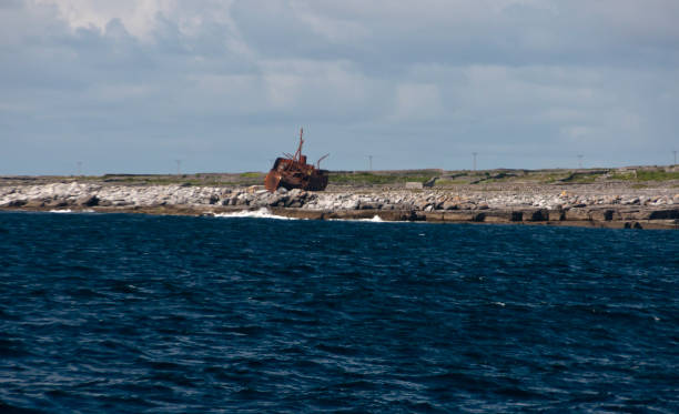 """PMV Plassy shipwreck on the Inisheer coast, Aran Islands, County Galway, Ireland This view of the PMC Plassey (or Plassy) wreck was captured from the Doolin ferry to Inisheer as it passed tra caorach, the east coast of Inisheer.  March 8, 1960 the cargo ship Plassey struck Finnis Rock (Carraig na Finise) during a storm while sailing Galway Bay with a cargo of whiskey, stained glass and yarn.  The crew was rescued, later the ship washed onto Inisheer by a second storm.  Early January 2014, a few months before this photograph was taken, storm Christine moved Plassey to this position.  A tourist attraction, the wreck is seen in the opening credits to the television series """"€œFather Ted.""""  The view is looking southwest from the Doolin Ferry headed to Innisheer. michael stephen wills aran stock pictures, royalty-free photos & images"""