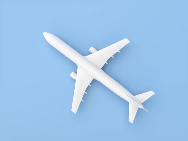 Plaster Airplane on Blue background stock photo