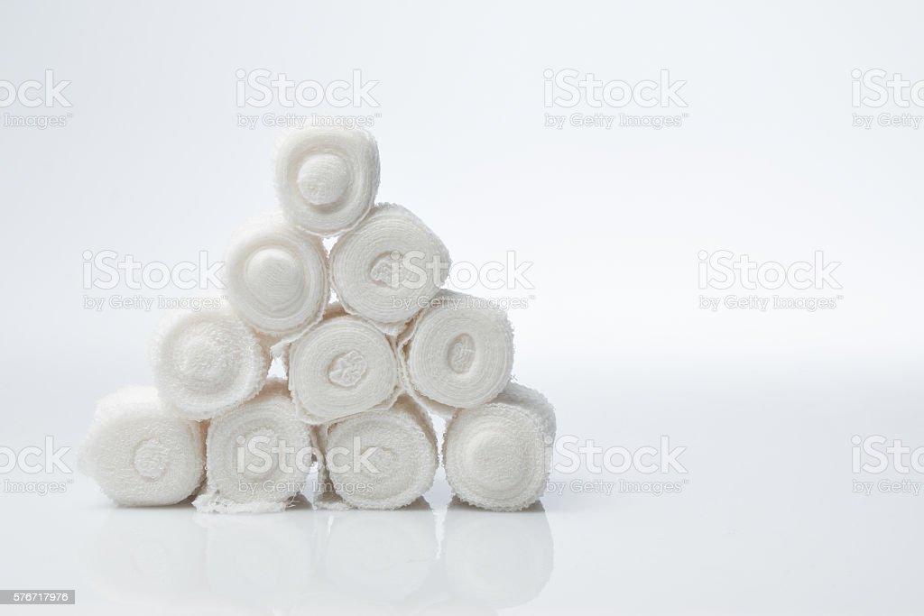 Plaster bandage roll and scissors stock photo