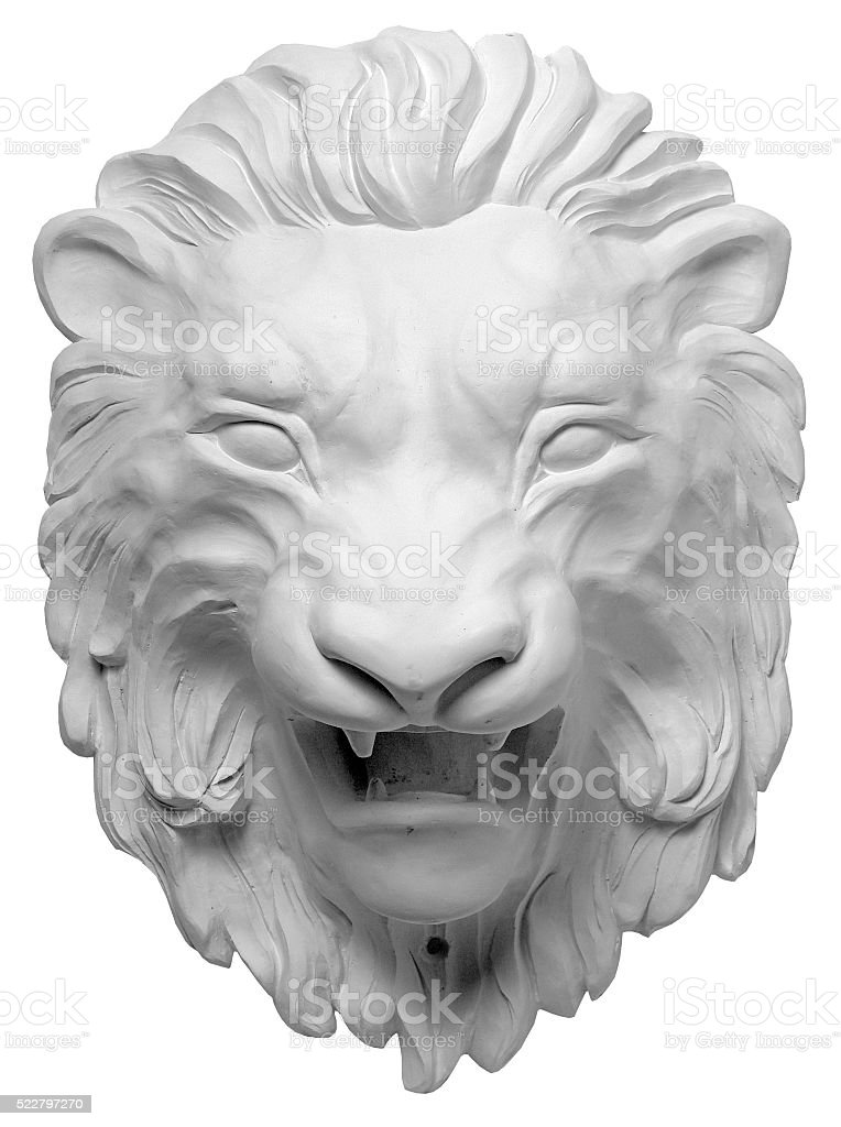 plaster bas-relief Greek characters a lion on a white background stock photo
