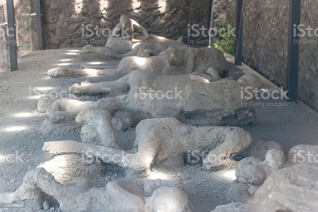 Plaster cast of the victims covered in ash, Pompeii stock photo
