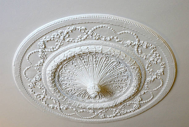 Plaster Ceiling Medallion Ornate, 18th Century, Italian Plaster Ceiling Medallion. plaster ceiling design stock pictures, royalty-free photos & images