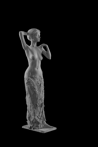 868668668 istock photo plaster statue of a naked girl on a black background isolated 872980598