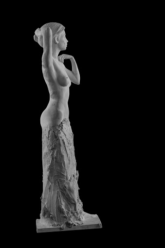 868668668 istock photo plaster statue of a naked girl on a black background isolated 872982888