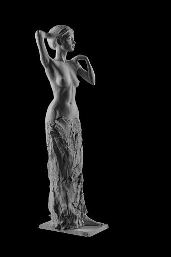 868668668 istock photo plaster statue of a naked girl on a black background isolated 872983556