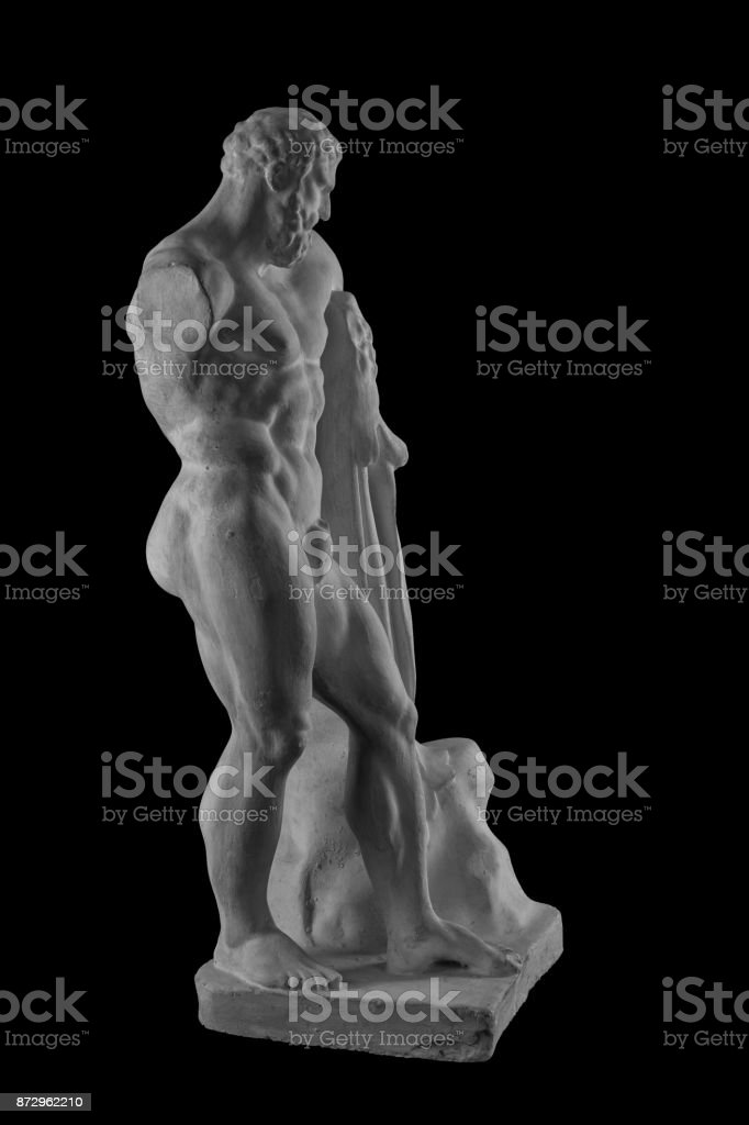 Plaster Statue Of Hercules Naked Man On Isolated Black Background ...