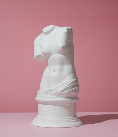 Plaster model of female torso (mass produced replica of Venus de Milo) on pink background