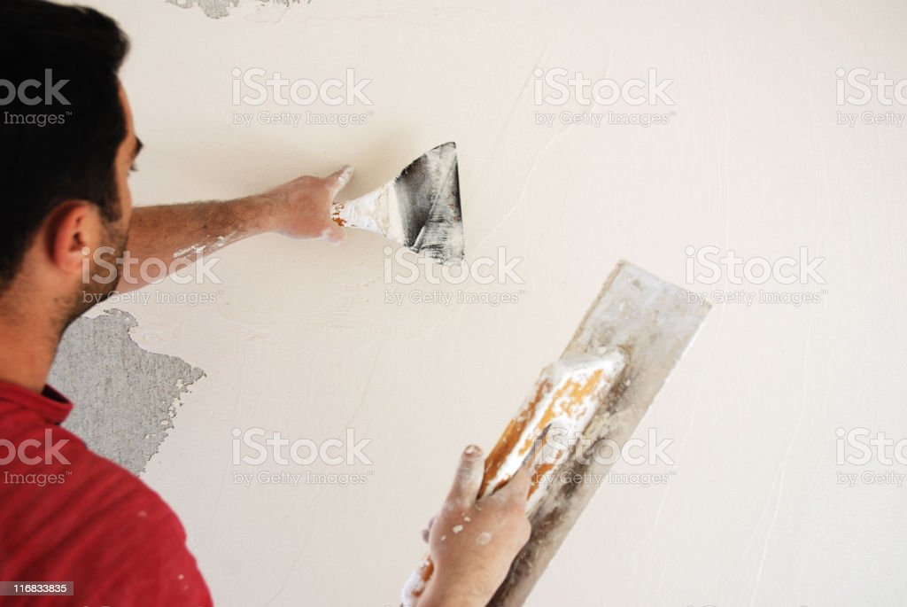 Plaster worker royalty-free stock photo