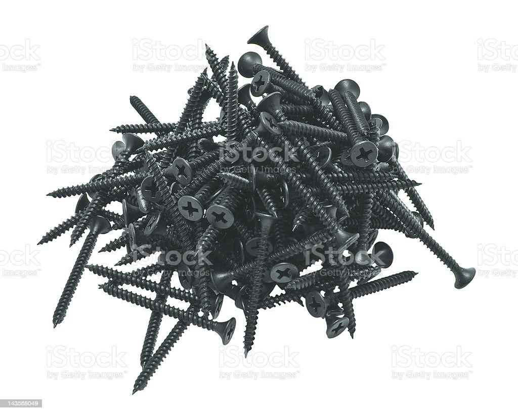 Plasterboard screws stock photo