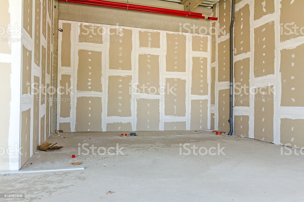 Plasterboard walls. Gypsum wall under construction. stock photo