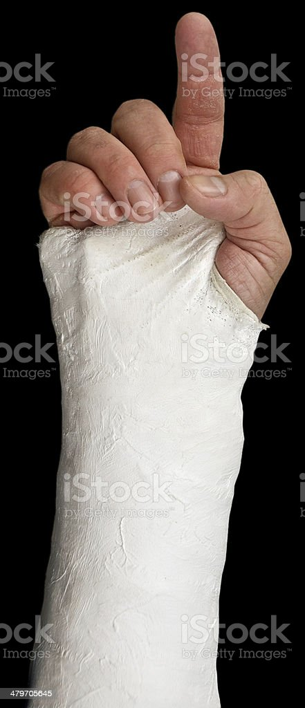 Plastered hand pointing stock photo
