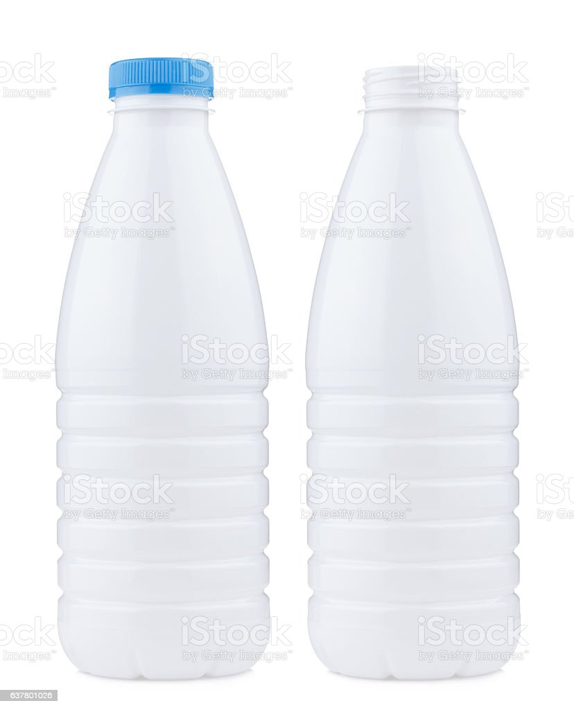Plastic 1 liter bottle closed and open, isolated on white stock photo