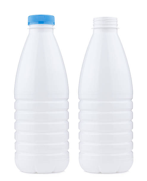 plastic 1 liter bottle closed and open, isolated on white - milk bottle stock photos and pictures