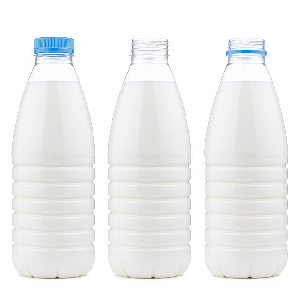 Plastic 1 liter milk bottle closed and open, isolated