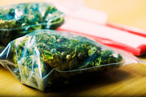 Plastic airtight bag of marijuana stock photo
