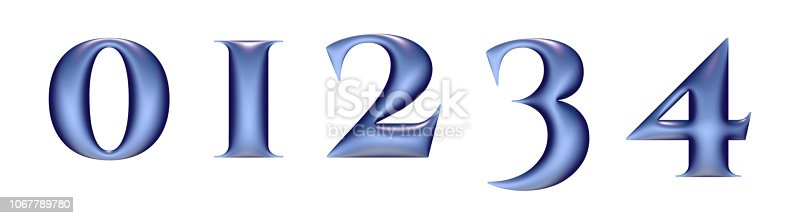 istock plastic alphabet, blue color, numbers 0 1 2 3 4, 3d illustration 1067789780