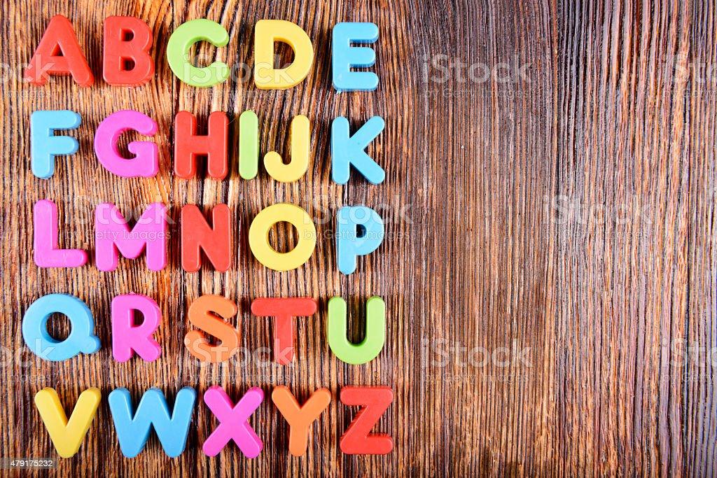 Plastic alphabet letters stock photo