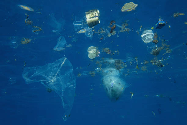 Plastic and other debris floats underwater in blue water. Plastic garbage polluting seas and ocean stock photo