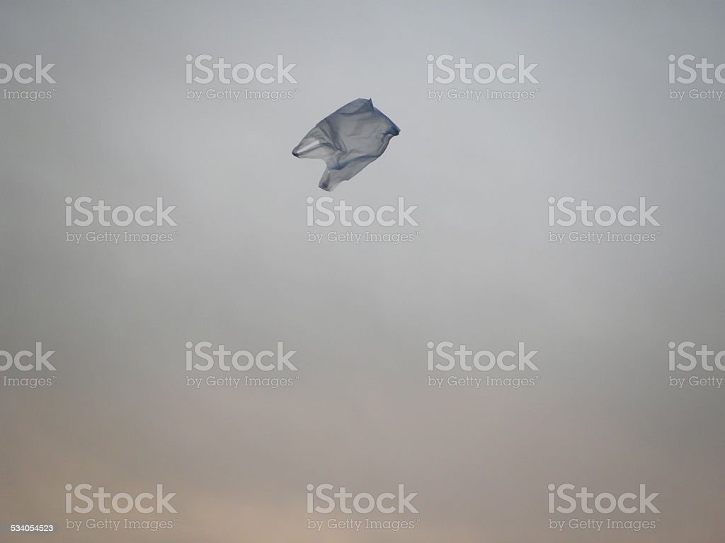 Plastic Bag Blown In The Sky stock photo