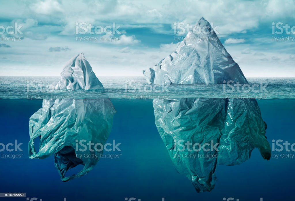 plastic bag environment pollution with iceberg of trash royalty-free stock photo