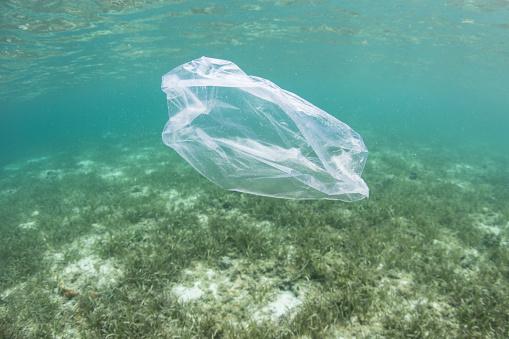 Sacchetto Di Plastica Galleggiante In Oceano - Fotografie stock e altre immagini di Acidificazione degli oceani