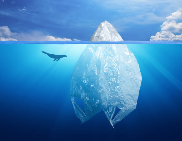 plastic bag iceberg with dolphin, environment pollution - iceberg stock photos and pictures