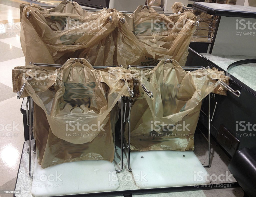 Plastic Bags at Checkout stock photo
