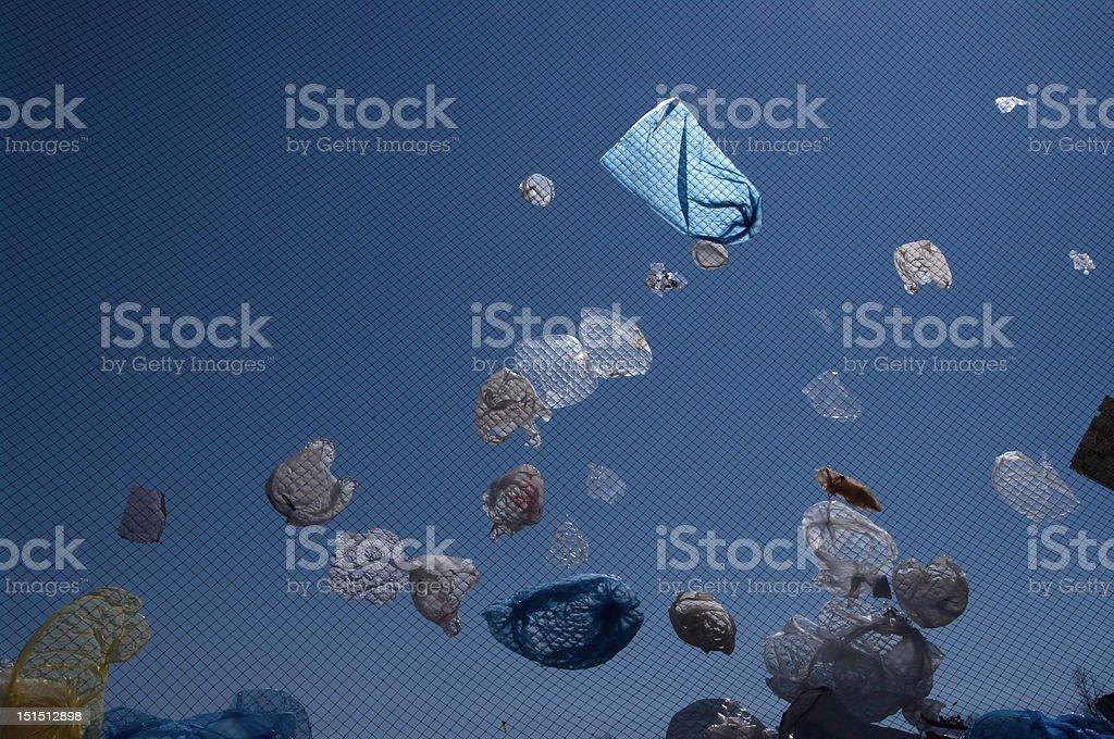 Plastic bags flying stock photo