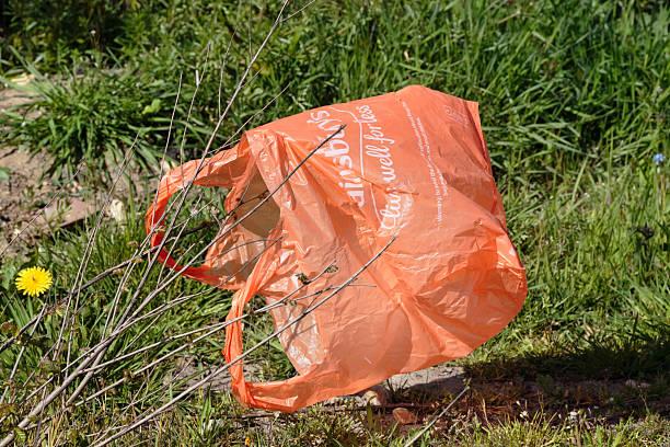 supermarkt plastiktüte gefangene in vegetation - windbeutel stock-fotos und bilder