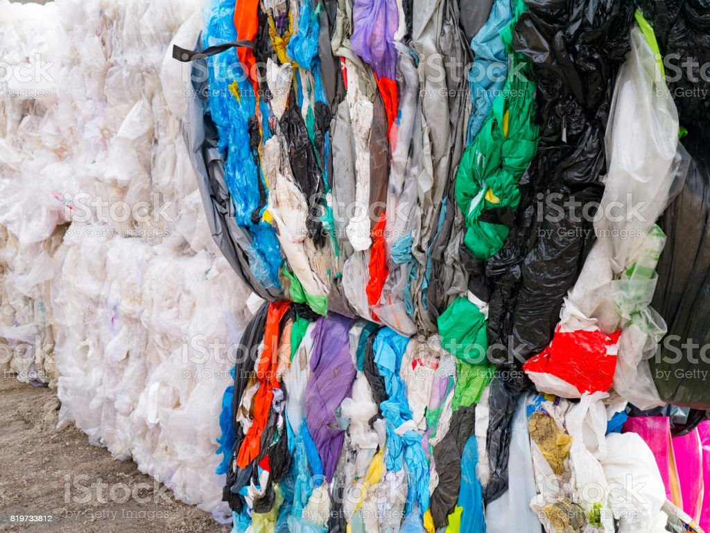 Plastic bags prepared for recycling stock photo
