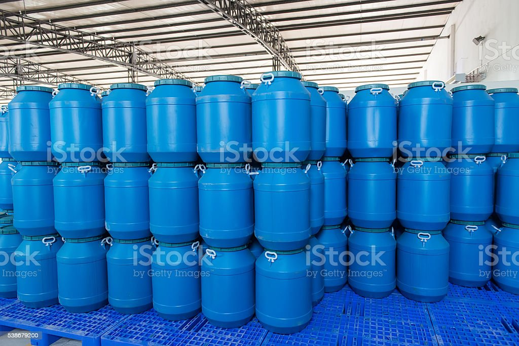 Plastic Barrels Or Drums Stored In A Warehouse Stock Photo Download Image Now Istock