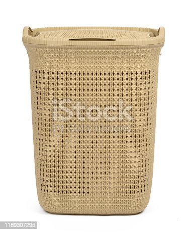 istock Plastic beige laundry basket isolated on white background 1189307295