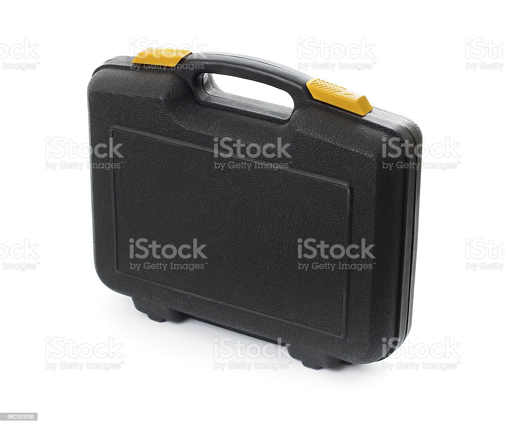 Plastic black case with tools isolated on white royalty-free stock photo