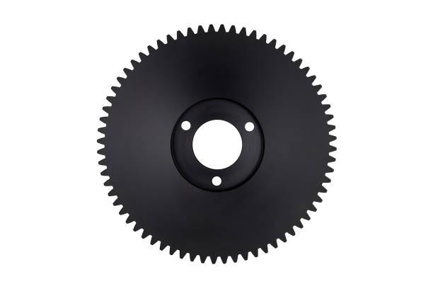 Kunststoff, schwarz Getriebe mit 68 Kettenräder, isoliert auf einem weißen Hintergrund mit einem Beschneidungspfad. – Foto