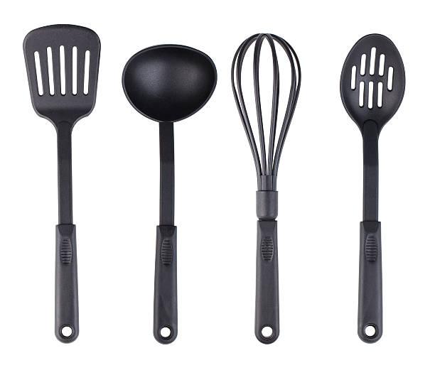 Plastic black kitchenware set stock photo
