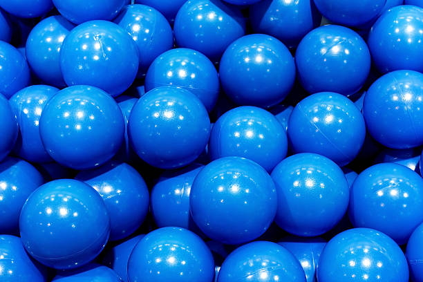 plastic blue balls stock photo